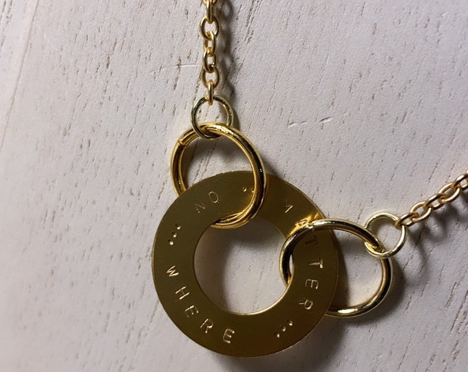 No Matter Where Circle Hand Stamped Necklace