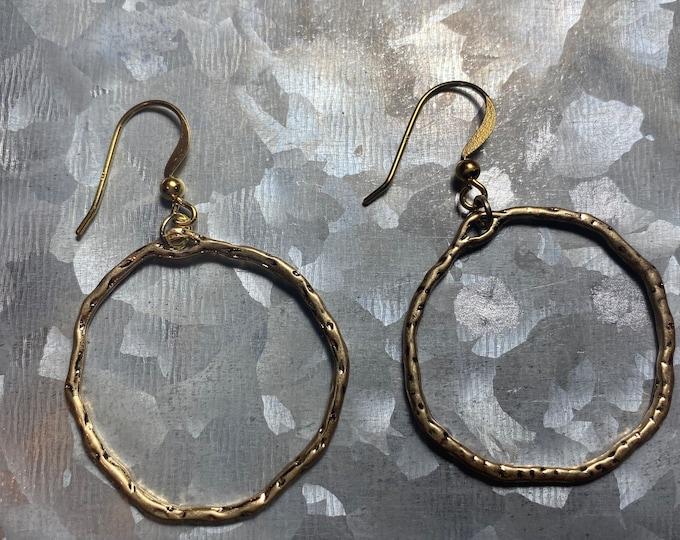 Gold Plated Stamped Hoop Earrings