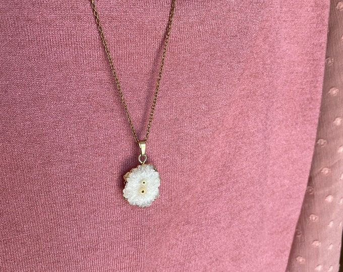 Crystal Druzy Slice Necklace