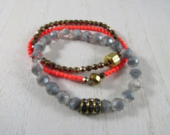 Bronze, Grey and Neon Red Beaded Stack Bracelets Set of 3