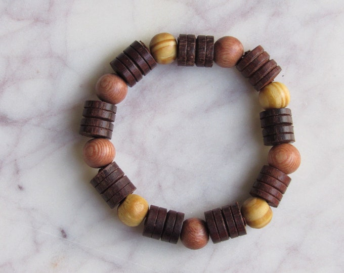 Light Brown and Brown Round Wood and Carved Wood Beaded Men's Bracelet
