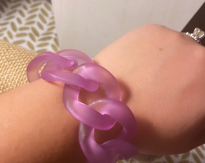 Matte Purple Acrylic Curb Chain Bracelet