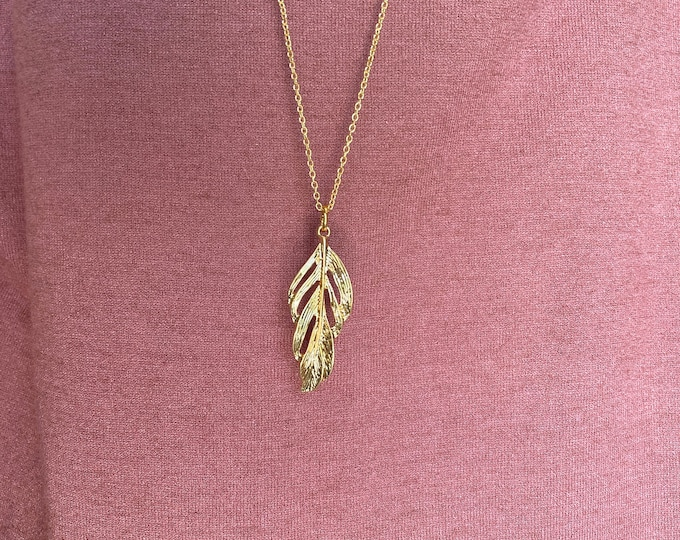 Gold Finished Feather Pendant Necklace