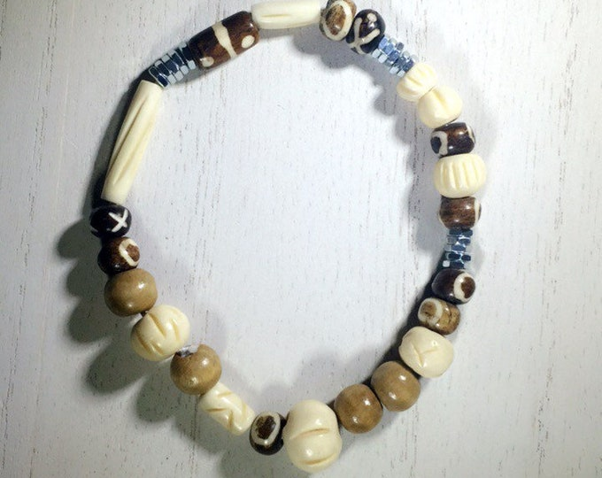 Bone| Wood | Hexagon Nuts Beaded Bracelet