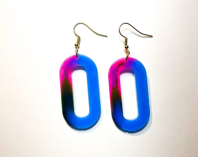Neon Pink Yellow, and Blue Hot Blue Epoxy Resin Dangle Earrings
