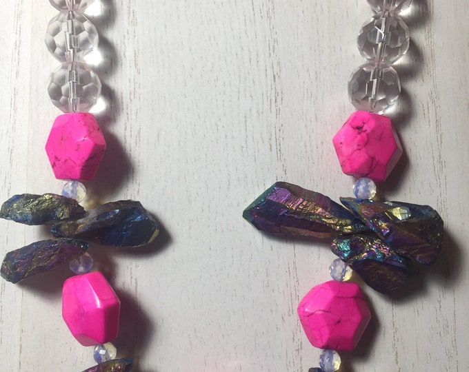 Hot Pink Magnesite & Electro Plated Agate |Statement Necklace