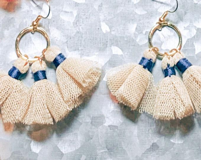 Tulle Tassel Earrings, Women's Trendy Earrings, Fall Earrings