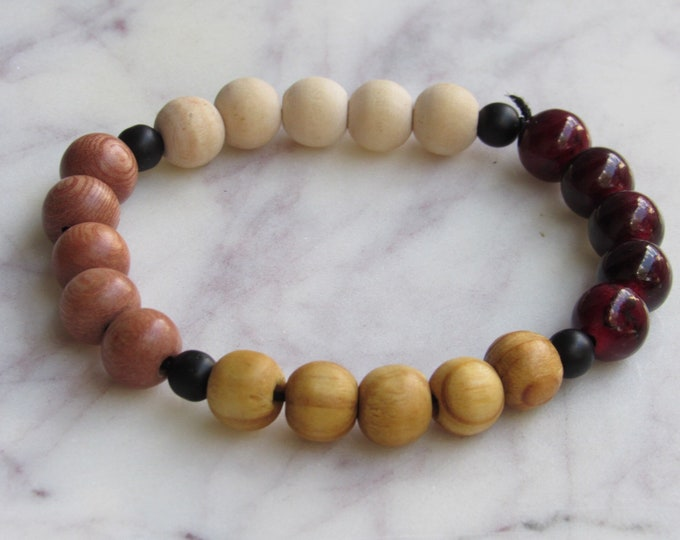 Light Brown and Dark Brown and Cranberry Round Wood Beaded Men's Bracelet
