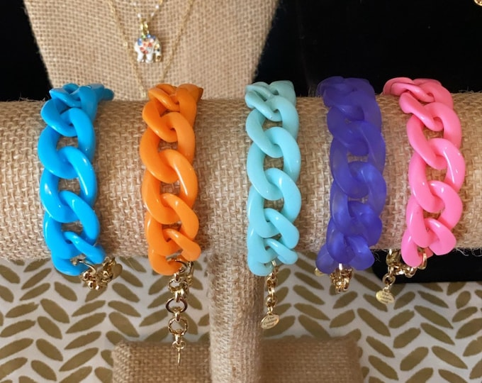 Resin & Gold Plated Chain Link Bracelets, Various Bright Colors