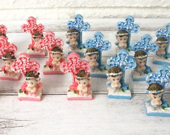 10 Assorted Blue Prince or Pink Princess Baby Shower Figurine Party Supplies