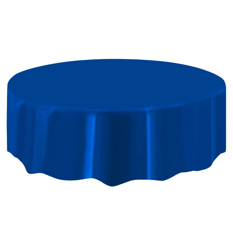 Admirable Blue Color Circle Round 84 Plastic Disposable Tablecloth Table Cover Wedding Party Decor Download Free Architecture Designs Grimeyleaguecom
