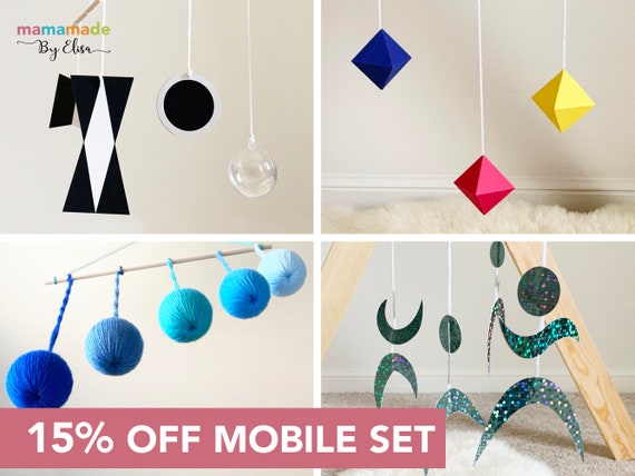 Black and white mobile Dancers Pink Gobbi Baby mobile Hanging mobile Set of 4 Montessori inspired mobiles Montessori mobile Octahedron Crib toy.