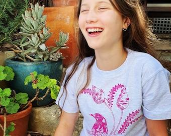 Children tee shirt, kids tee, bird design, pink, New Holland Honeyeater, banksia, kids gift idea, cotton, cute design, relaxed, bird, nature