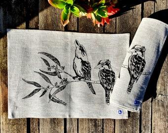 Bird placemats, set of 4 linen placemats, hand screen printed, kookaburra, Australian birds, gumtree, eucalyptus, gift for her, home decor