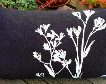 Floral cushion cover, kangaroo paws, black and white, hand screen printed, Australian design, Australian flora, linen, rectangular cushion.