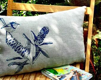 Bird cushion cover, Blue wren and banksia, linen cushion cover, blue, Australian fauna and flora, Australian gift