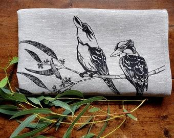 Bird Tea Towel, kookaburra, gumtree, linen tea towel, black print, Australian fauna and flora, Australiana, Australian bird, eucalyptus