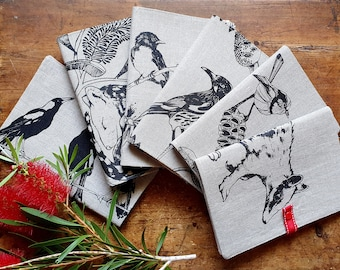 notebook selection, journal, special diary, animal design, birds, fauna and flora, gift for teens, removable cover, linen, cotton cover