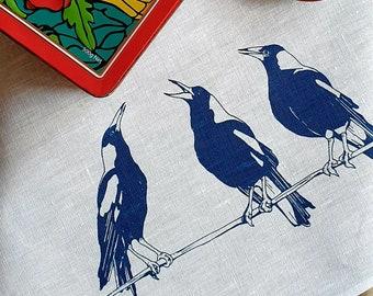 Magpie tea towel, bird tea towel, animal tea towel, linen, blue tea towel, Australia tea towel, Australiana, fauna and flora