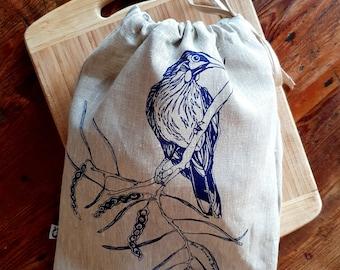 bread bag, bird design, drawstring bag, sustainable bag, produce bag, Australian design, reusable, linen bag, hand screen printed, pantry.
