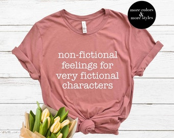 Non-Fictional Feelings | Typewriter | Bookish Shirt | Librarian Shirt | Librarian Gift | Bookworm Bibliophile | Reading Shirt | Reader Shirt