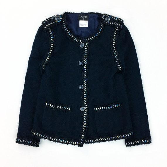 CHANEL Midnight Blue Tweed Blazer Jacket
