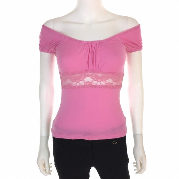 Moschino Jeans Pink Lace Pleated Top