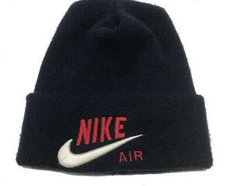 6bbf0c335e3 Vintage Nike air embroidered swoosh navy beanie tinker UA one size VTG90