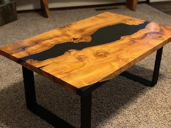 Epoxy Coffee Table Live Edge Cherry Wood Etsy