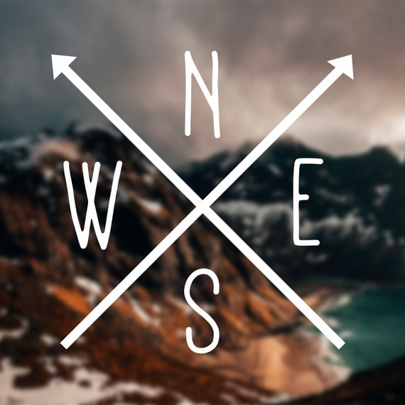 Nsew Decal North South East West Crossed Arrows Decal Nesw Etsy