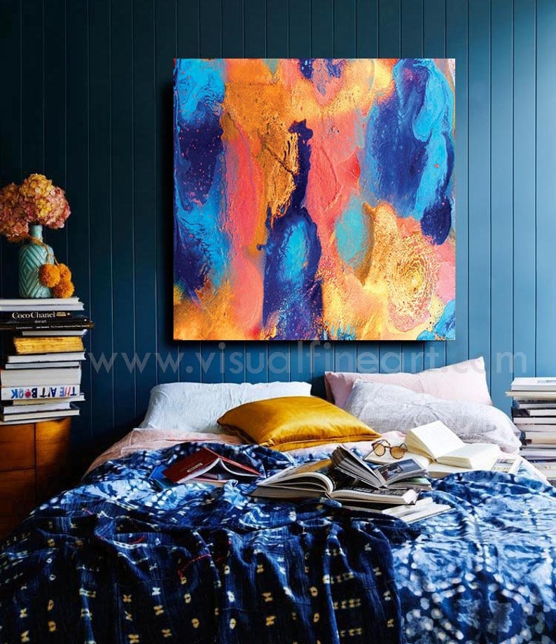 Abstract Blue Gold Stretched Canvas Print Framed Wall Art Home Office Decor Gift