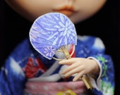Uchiwa Fan - For Pullip, blythe, bjd, dolls 1/6, hand made with bamboo