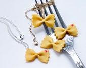 Necklace Mini Pasta Farfalle, necklace Mini Pasta Farfalle, jewellery Fimo gourmands,