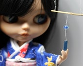 Wind chimes, wind bell, JAPANESE Traditional Furin for Pullip, blythe, bjd, dolls 1/6, hand made UV resine, Japanese miniature