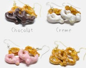 pretzel earrings, earrings pretzel, jewel Fimo gourmands