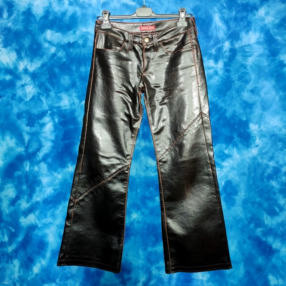 Vintage 90s 00s y2k brown faux leather low rise pa