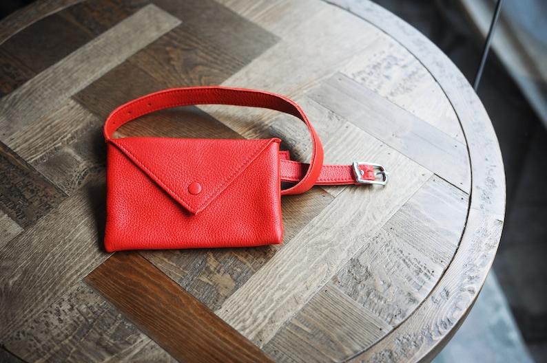 Red Leather Belt Bag Fanny Pack Womens Belt Bag Waist Bag Leather Bag