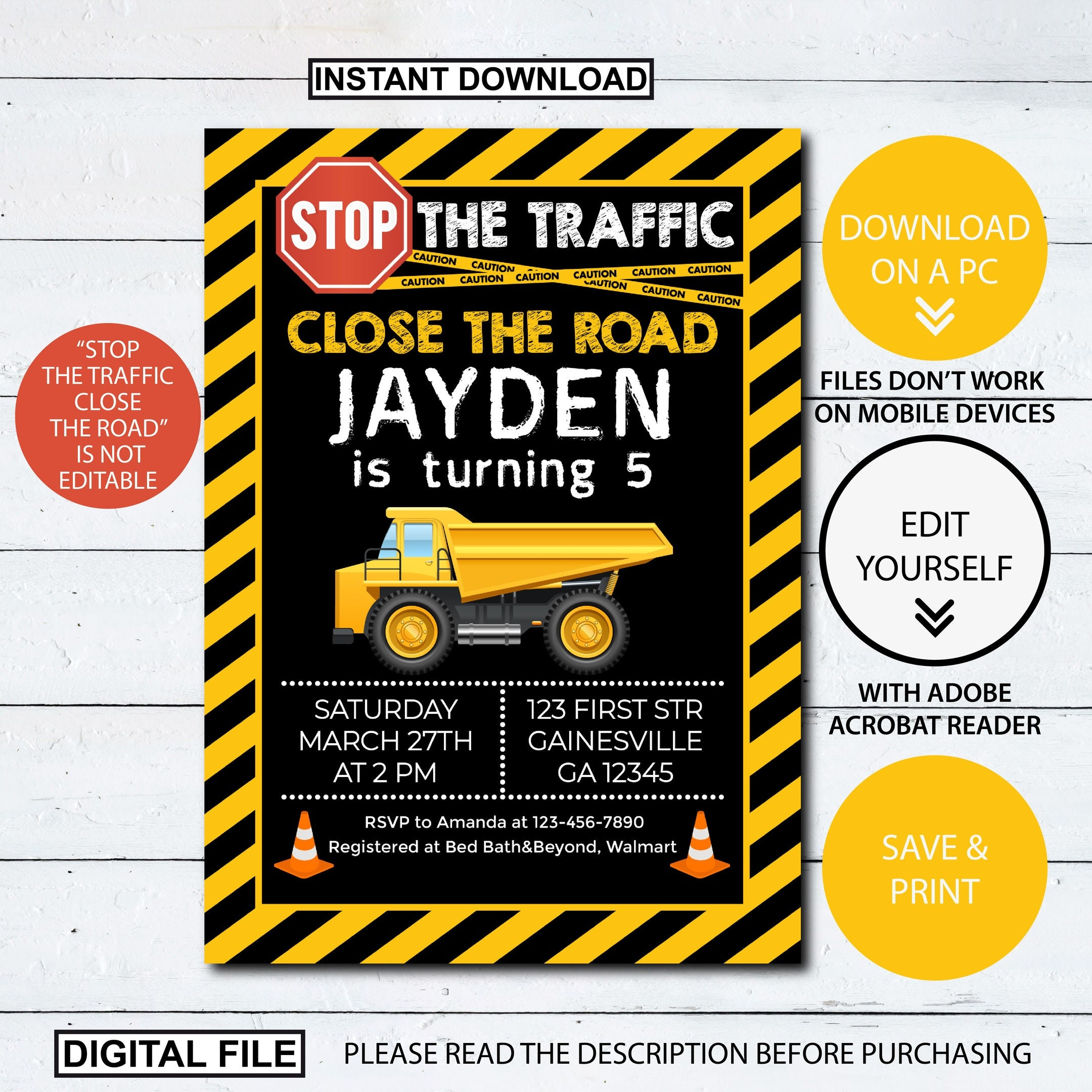 Editable Construction Birthday Invitation Stop The Traffic