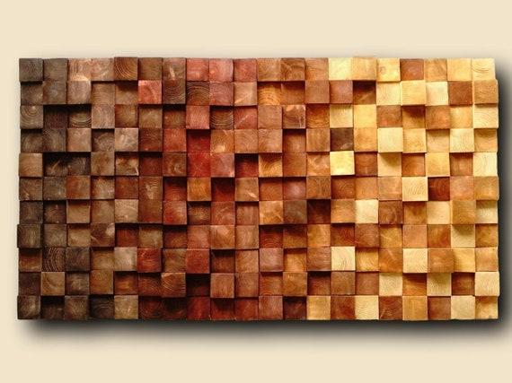 Arte della parete in legno legno mosaico parete arte   Etsy