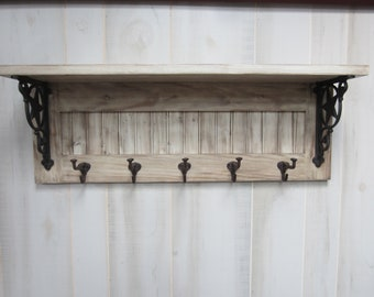 Rustic Country Coat Rack With Shelf Cabin Western Farmhouse