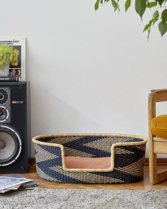 Handwoven Dog Basket Bed, Large Dog Furniture