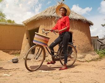 Bicycle Basket With Leather Straps, Bike Basket , Bike Accessories , Bolga Basket , Basket For Bicycle , Bike Bag , Bike Front Basket