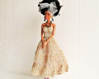 468d4079899 Gold lace long ball gown crocheted with full tulle skirt for Barbie 12  inches