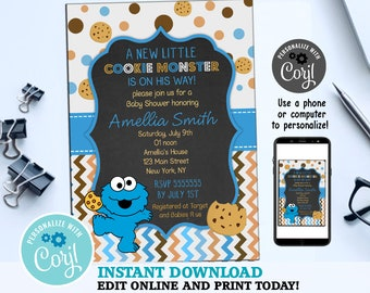 Cookie Monster Baby Shower Invitation - Baby Cookie Monster Invitation -  Baby Sesame Street - Cookie Invitation - Digital file 39e570f5e7