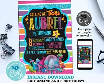 Trolls Birthday Invitation Party Invite Digital