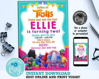 Trolls Birthday Invitation Invitations Party Card