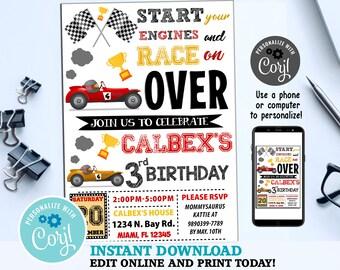 Go Kart Party Invite Etsy