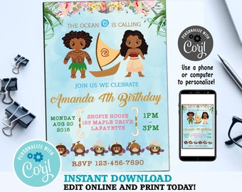 Moana Invitation Editable Birthday And Thank You Instant Download Party