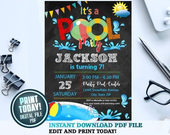 pool party printable etsy