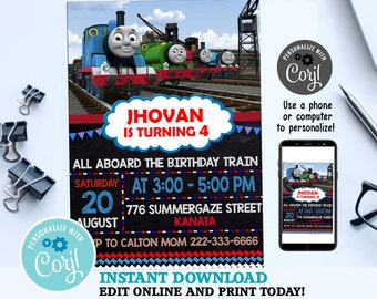 Thomas Train Invitation Birthday Party Printable